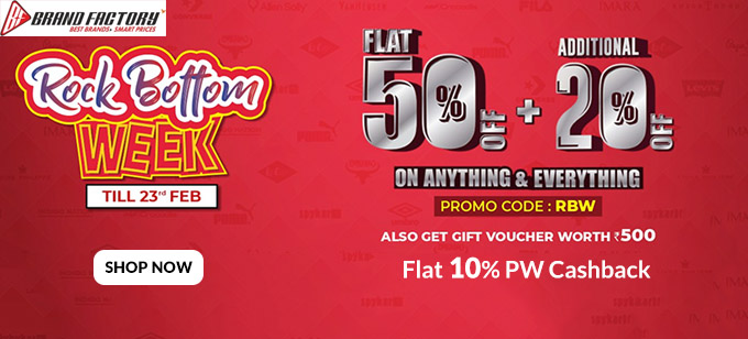 ROCK BOTTOM WEEK | Flat 50% + Extra 20% Off on All Fashion & Accessories
