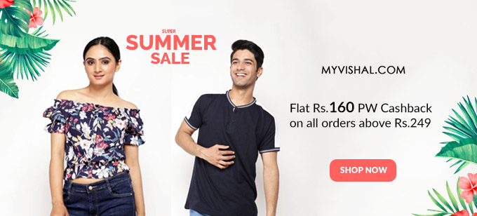 SUMMER SALE | Flat 50-70% Off on Men's Fashion + Rs.160 PW Cashback on orders Over Rs.249