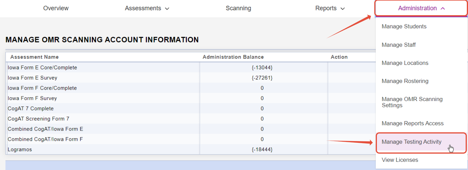 A screenshot showing license balance and a menu drop down of the administration application.