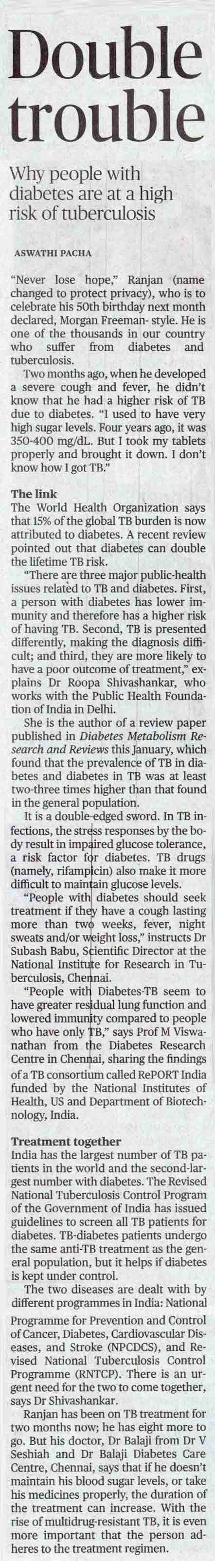 Taming the double trouble of Tuberculosis and diabetes