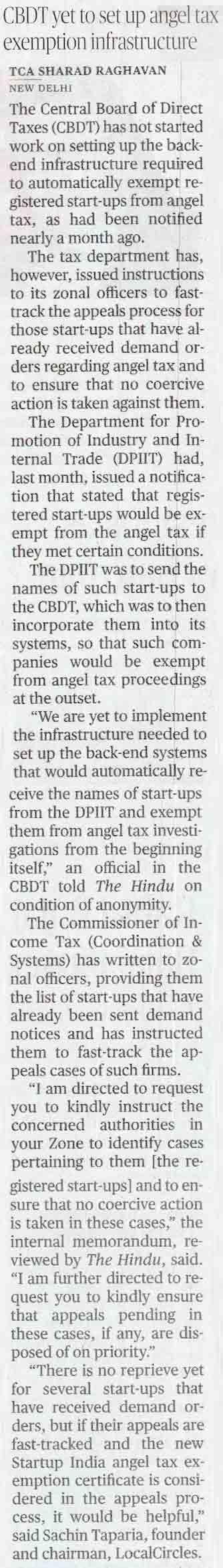 CBDT yet to set up angel tax exemption infrastructure