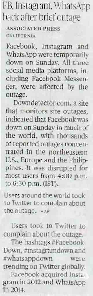 FB, Instagram, WhatsApp back after brief outage