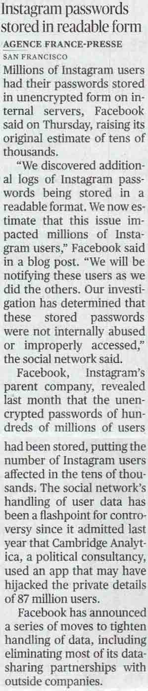 Instagram passwords stored in readable form
