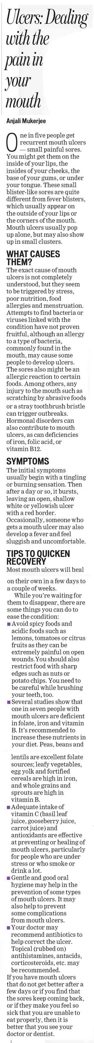 Ulcers: Dealing with the pain in your mouth