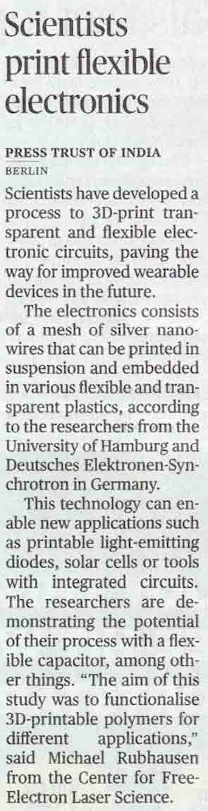 Scientists print flexible electronics