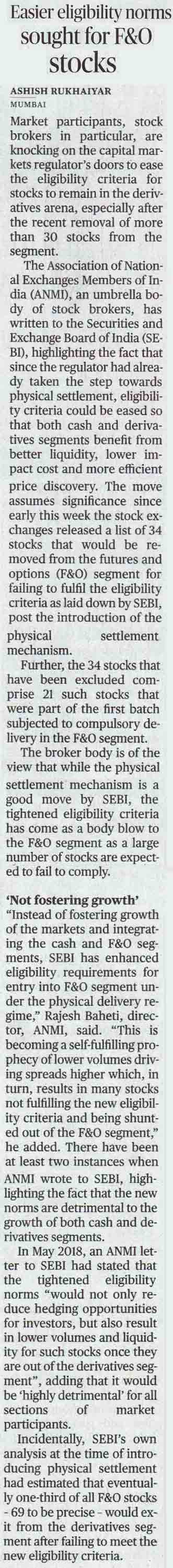 Easier eligibility norms sought for F&O stocks