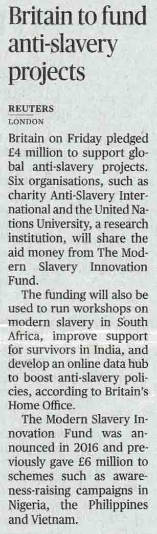 Britain to fund anti-slavery projects