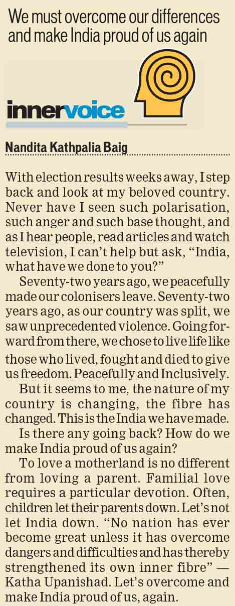 We must overcome our differences and make India proud of us again
