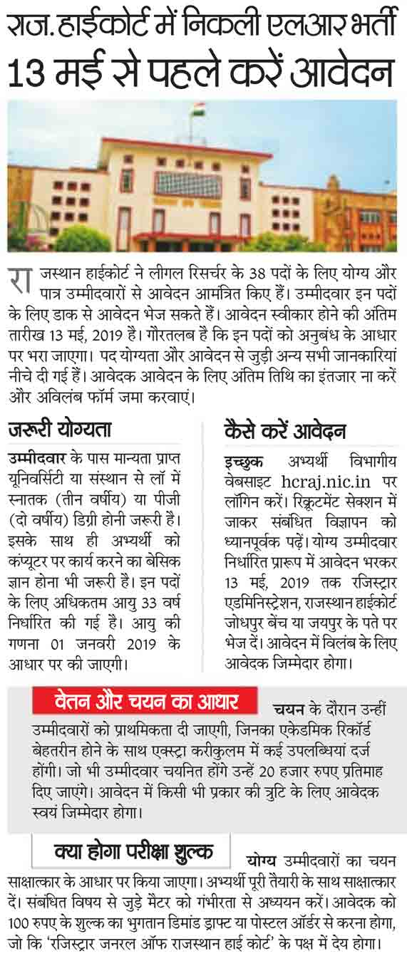 Rajasthan High Court Recruitment 2019