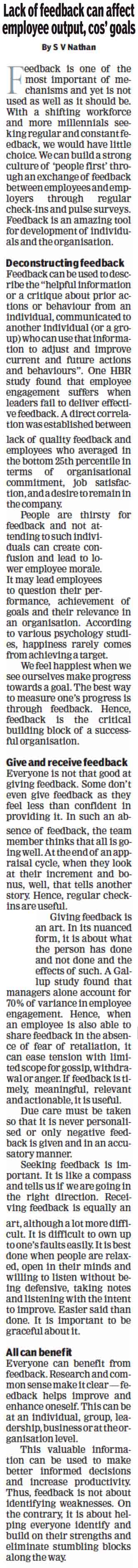 Lack of feedback can affect employee output, cos' goals