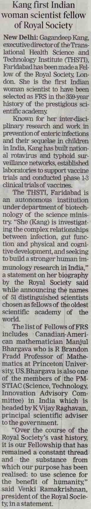 Kang first Indian woman scientist fellow of Royal society