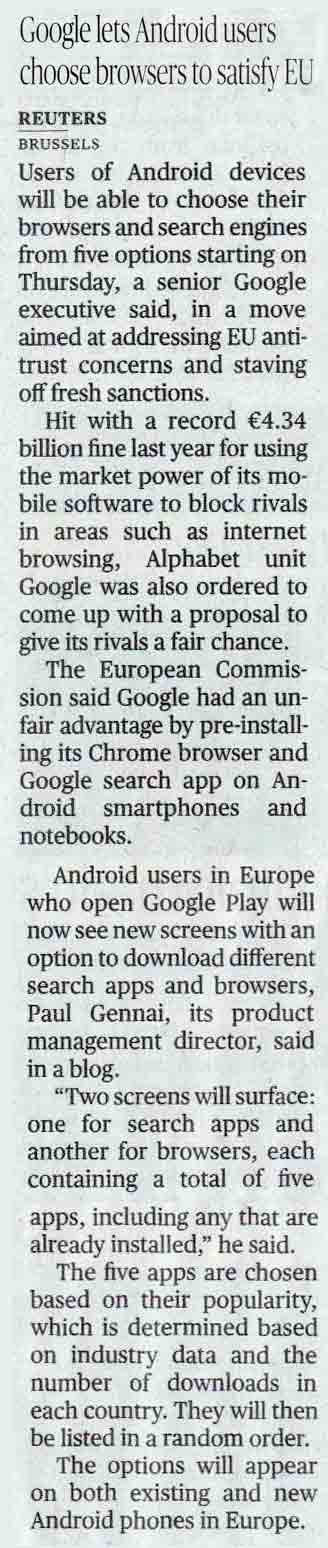 Google lets Android users choose browsers to satisfy EU