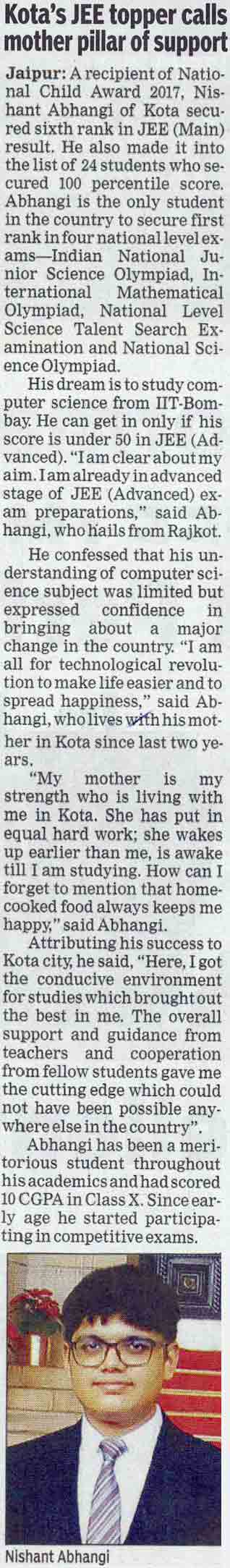 Kota's JEE topper calls mother pillar of support