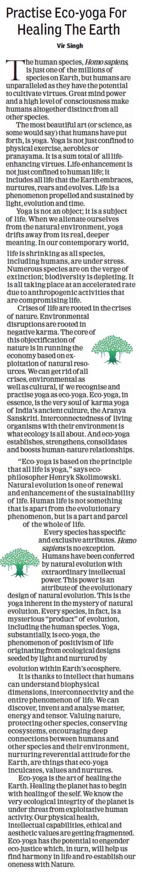 Practise Eco-yoga for healing the earth