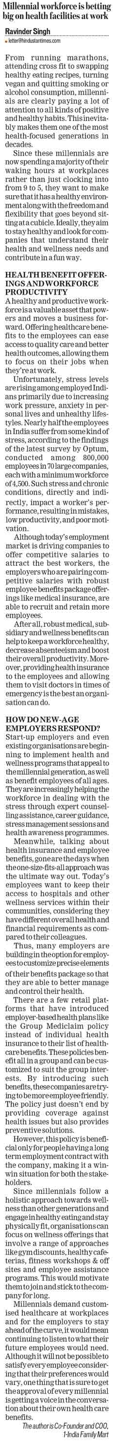Millennial workforce is betting big on health facilities at work