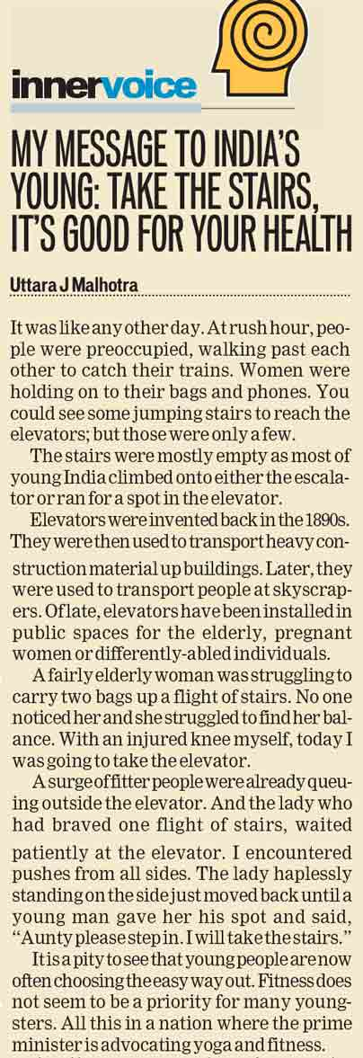 My message to India's young: Take the stairs, its's good for your health