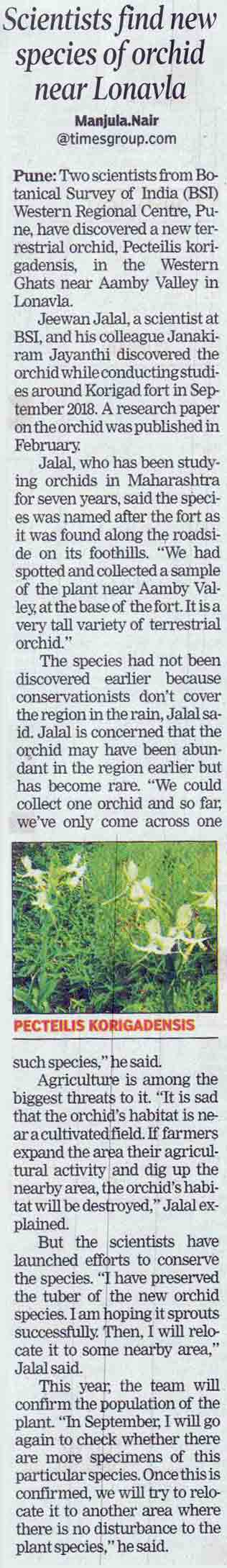 Scientists find new species of orchid near Lonavla