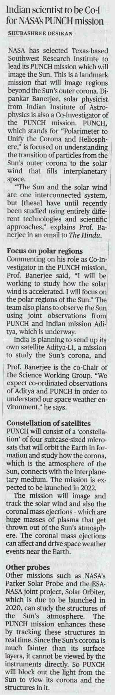 Indian scientist to be Co-I for NASA's PUNCH mission
