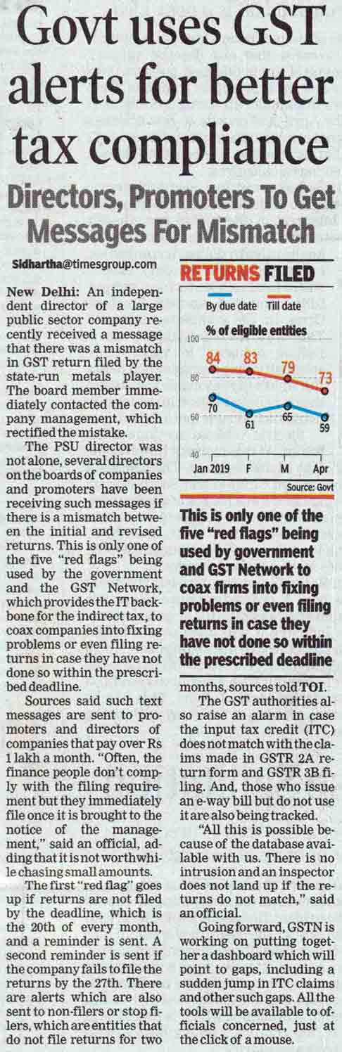 Govt uses GST alerts for better tax compliance