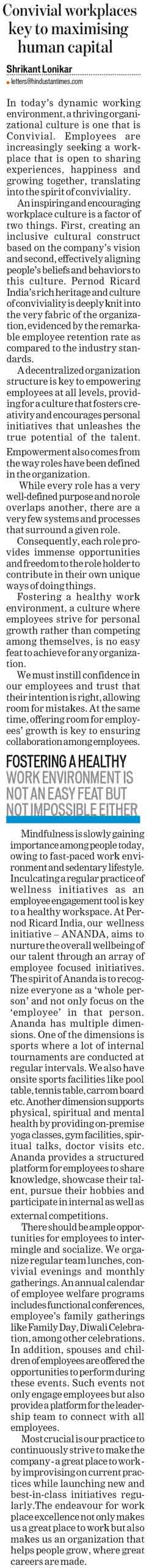 Convivial workplaces key to maximising human capital