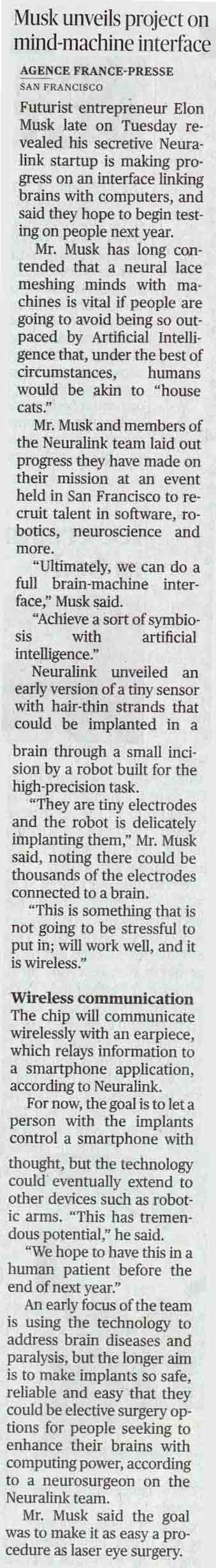 Musk unveils project on mind-machine interface