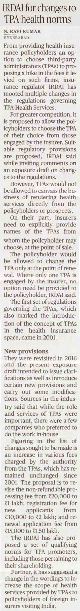 IRDAI for changes to TPA health norms