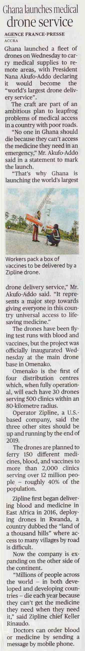 Ghana launches medical drone service