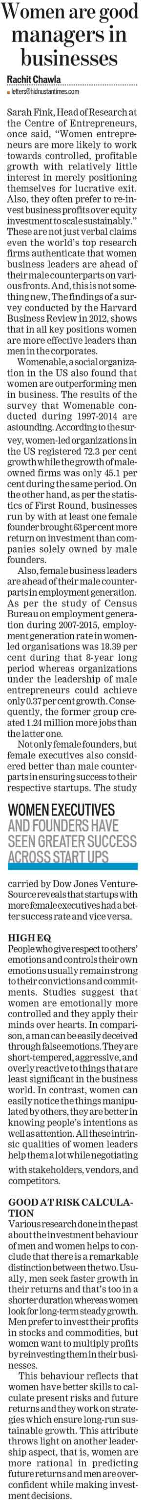 Women are good managers in businesses