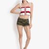white cotton denim shorts for women