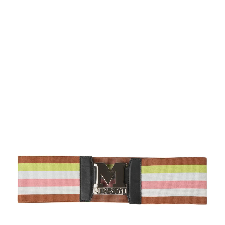 M Missoni Striped Stretch-knit Belt - LabelCentric