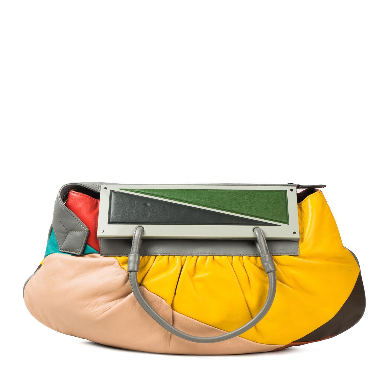 892de0962e54 Fendi Multicolor Leather Convertible To You Clutch Bag - LabelCentric