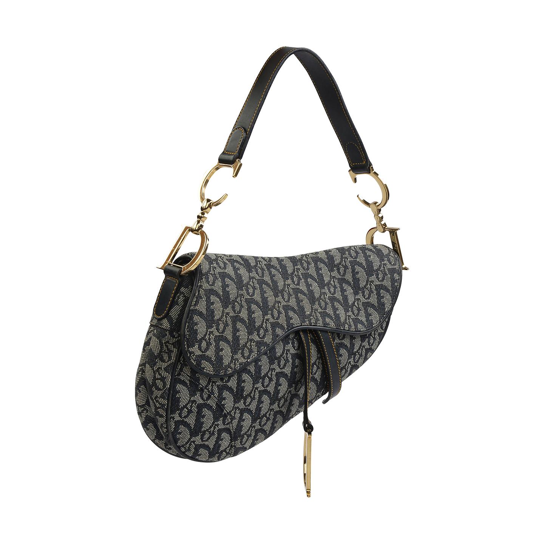 480003e4700d Christian Dior Navy Jacquard Diorissimo Saddle Bag - LabelCentric