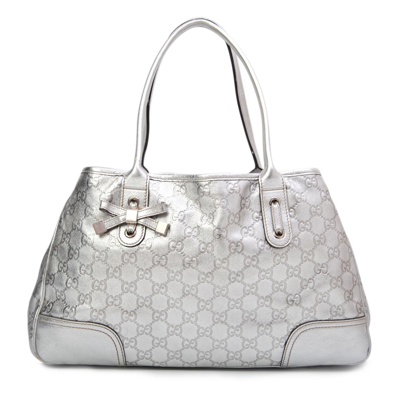 3c3716b3dcd Gucci Silver Guccissima Medium Princy Tote - LabelCentric