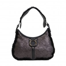 Salvatore Ferragamo Gancini Embossed Shoulder Bag