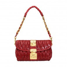 Miu Miu Red Matelasse Lux Shoulder Bag