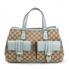 Gucci Beige Canvas Tote With Blue Trims-1
