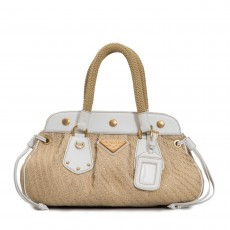 Prada Beige/White Jute Frame Top Satchel Bag