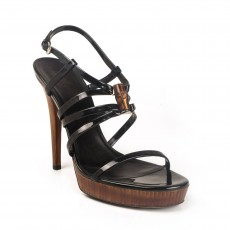 Gucci Black Patent 'Bamboo Icon' Platform Sandals Size 38.5-1