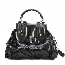 Gucci Black Dialux Green 'Pop' Bamboo Handle Tote-2