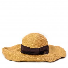Gucci Tan Straw Havana Wide Brim Hat 01