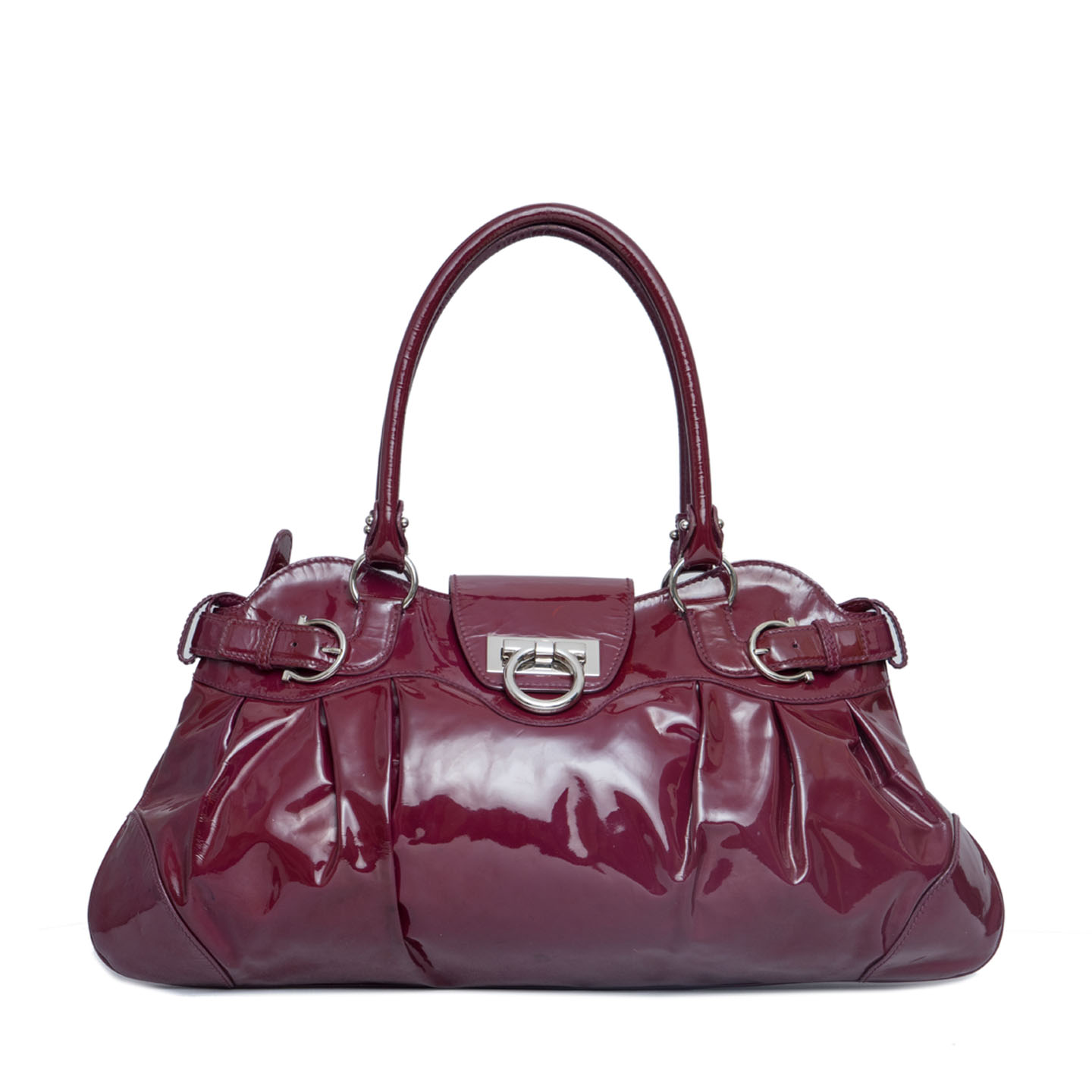 Salvatore Ferragamo Patent Leather Marisa Shoulder Bag 01