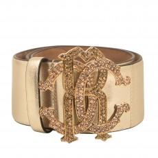 Roberto Cavalli Gold Leather Wide Waist Belt 01