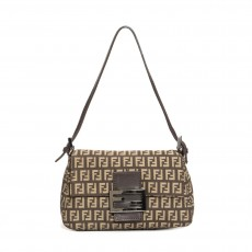 Fendi Brown Zucchino Canvas Mini Mama Baguette Bag-3