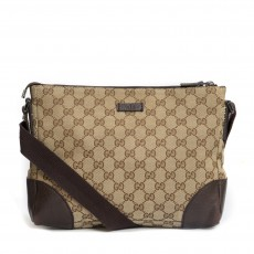 Gucci Beige/Ebony GG Canvas Messenger Bag -01