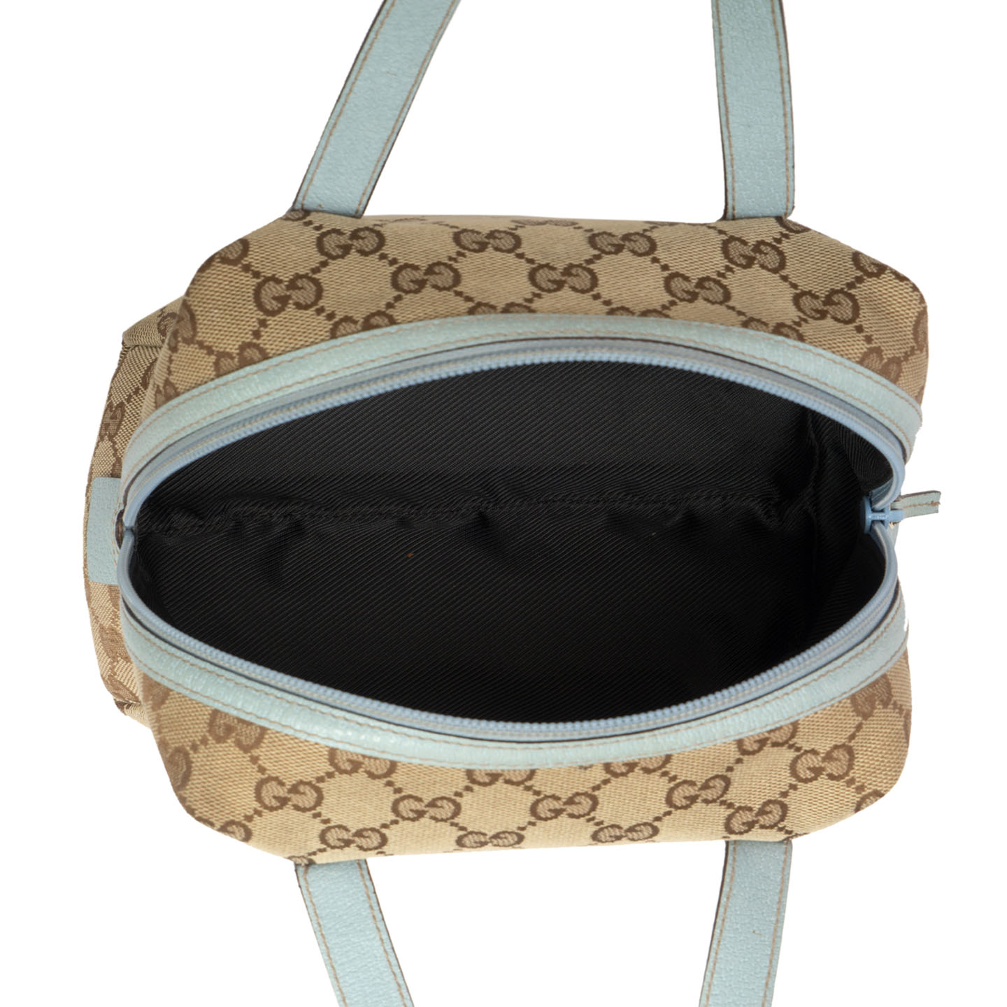 Gucci Beige Canvas Cosmetic Handle Bag - LabelCentric
