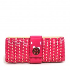 Tory Burch Fuchsia Patent And Straw Clutch 01