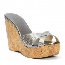 Jimmy Choo Metallic Grey Leather Perfume Cork Wedges 02