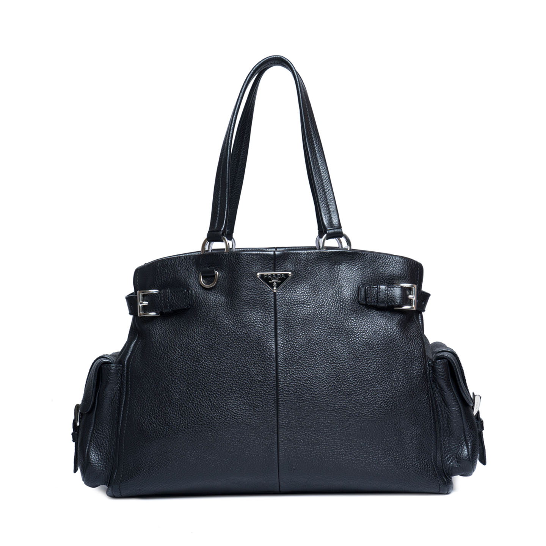 1ec94d7e65bc Prada Black Leather Vitello Daino Shoulder Bag - LabelCentric