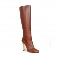 Jimmy Choo Calf Leather Cognac Knee High Boots - 01