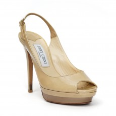 Jimmy Choo Nude Patent Leather Slingback 'Vertigo' Platform Pumps 05
